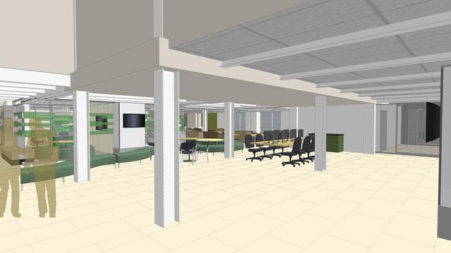 This rendering is closely aligned with the photo above, with the shadow figures in roughly the same place as Learning Commons project director Chris Clark and UI Libraries public relations manager Kristi Bontrager.