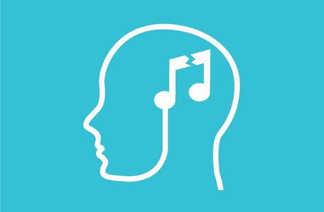 outline of human head in profile with broken music note centered over brain area