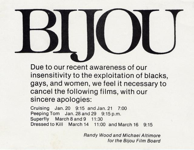 Black-and-white announcement from Bijou of film cancellations