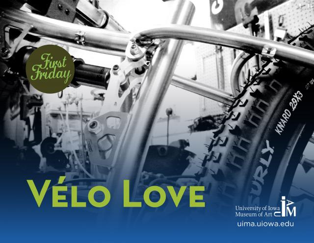 "A close up photo of a portion of a bicycle with the words ""Vélo Love"" superimposed on the photo"