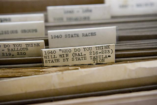 hanging file folders containing original1 data from the 1940's