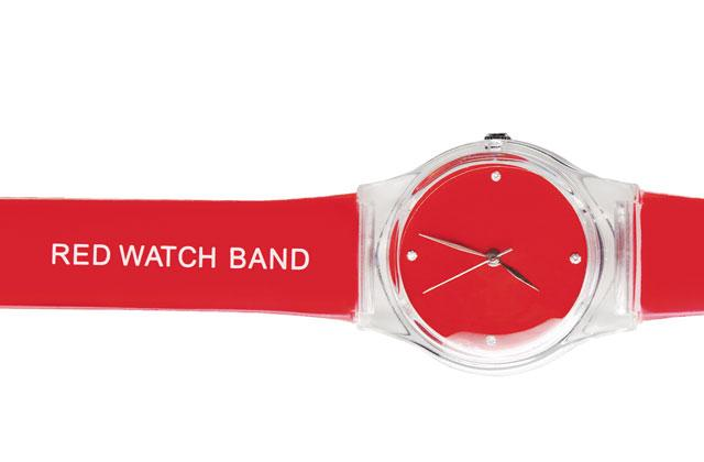 """a red watch with the inscription """"red watch band"""" on the band"""