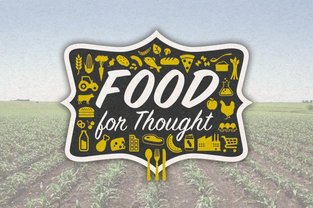 food for thought logo illustration with corn field