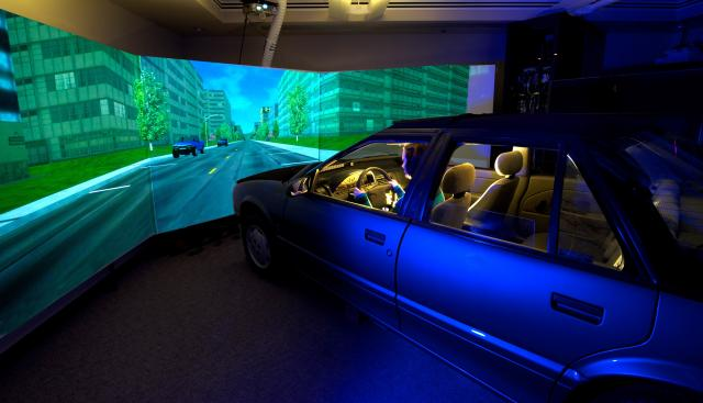 Subject using a driving simulator
