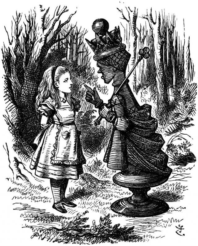 The Red Queen lecturing Alice