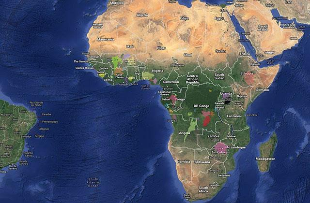 map showing Africa