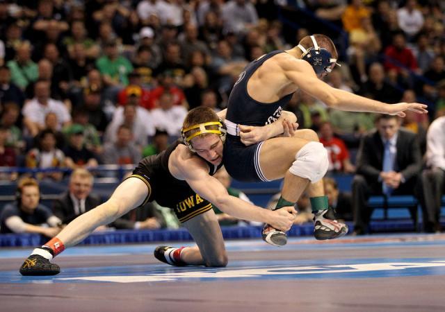 Matt McDonough gains the upper hand against Penn State's Nico Megaludis during their 125-pound final.