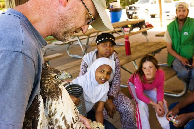 Man displays a hawk to a group of kids