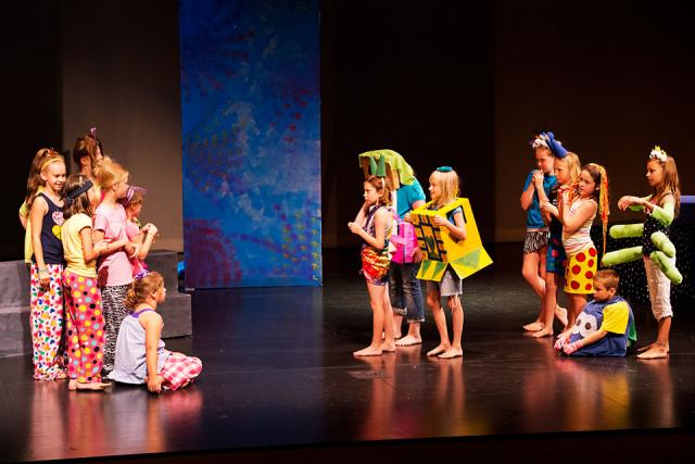 Participants in the 2012 Osage Summer Theatre Program perform a dress rehearsal.