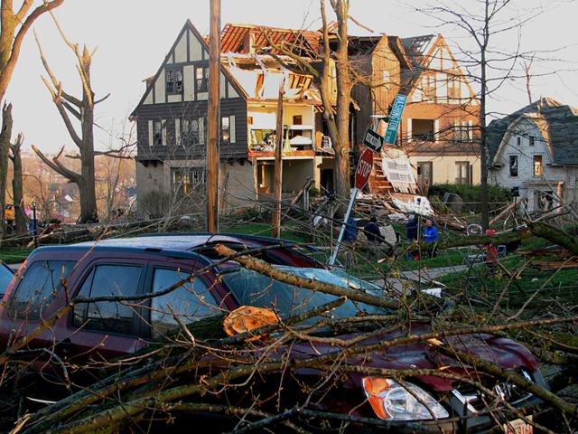 the Alpha Chi Omega sorority house in the wake of an April 2006 tornado