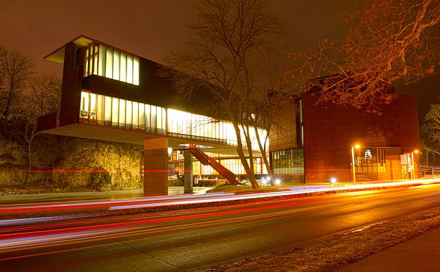 Art Building West at night