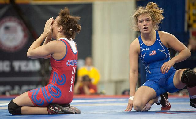 Kelsey Campbell, left, celebrates her Olympic dream while Helen Maroulis looks on in disbelief in the 55-kg competition.