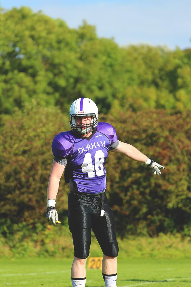 Former University of Iowa linebacker Palmer Foster is a player/coach at Durham University in England.