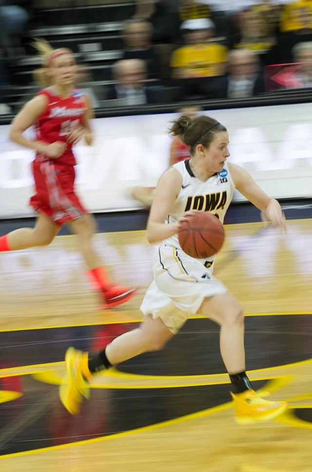 Junior Samantha Logic during Iowa's opening round game against Marist in the 2014 NCAA tournament.