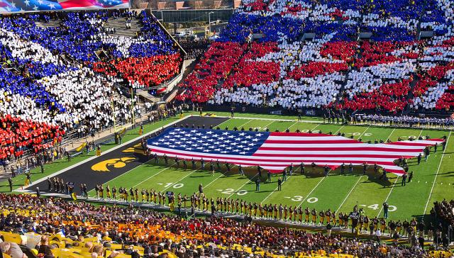 Stars and Stripes were impossible to miss at University of Iowa's Kinnick Stadium in November 2014. Photos by Tim Schoon.