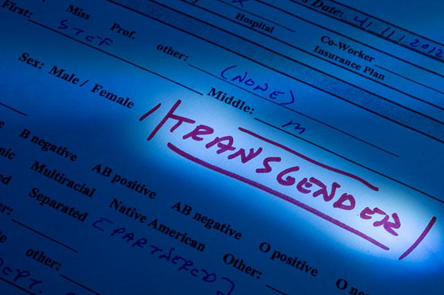 medical information form with transgender added to male/female options