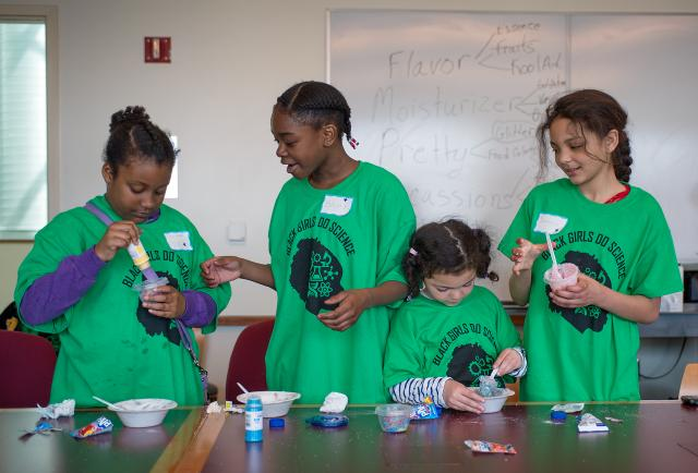"Elementary school girls attending the UI's recent ""Black Girls Do Science"" camp learned that making lip gloss from Vaseline and Kool Aid is fun."
