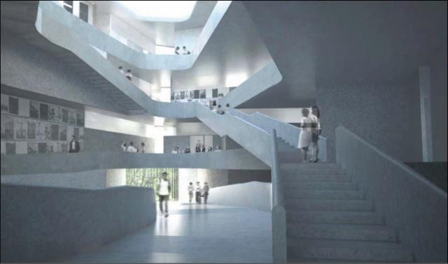 A rendering of the new Art Building's interior.