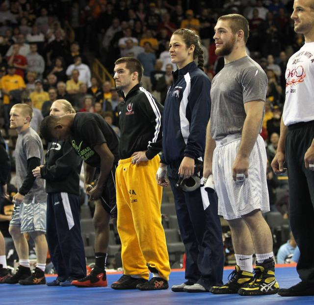 Brent Metcalf on a wrestling mat