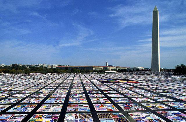 AIDS quilt on display in Washington, DC