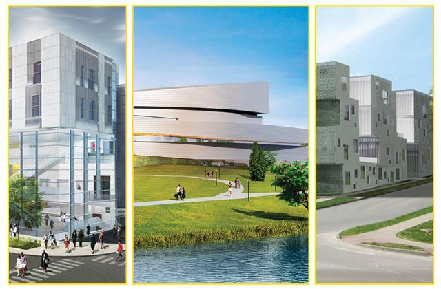 architectural renderings of the new music building, Hancher, and the art building