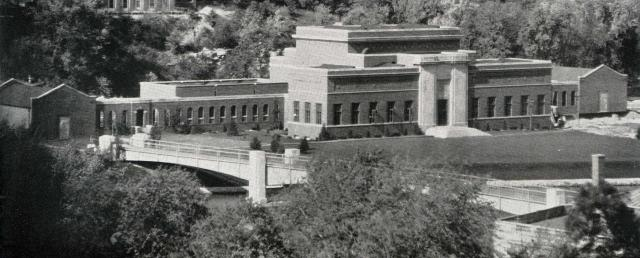Black-and-white photo of the east side of the Art Building