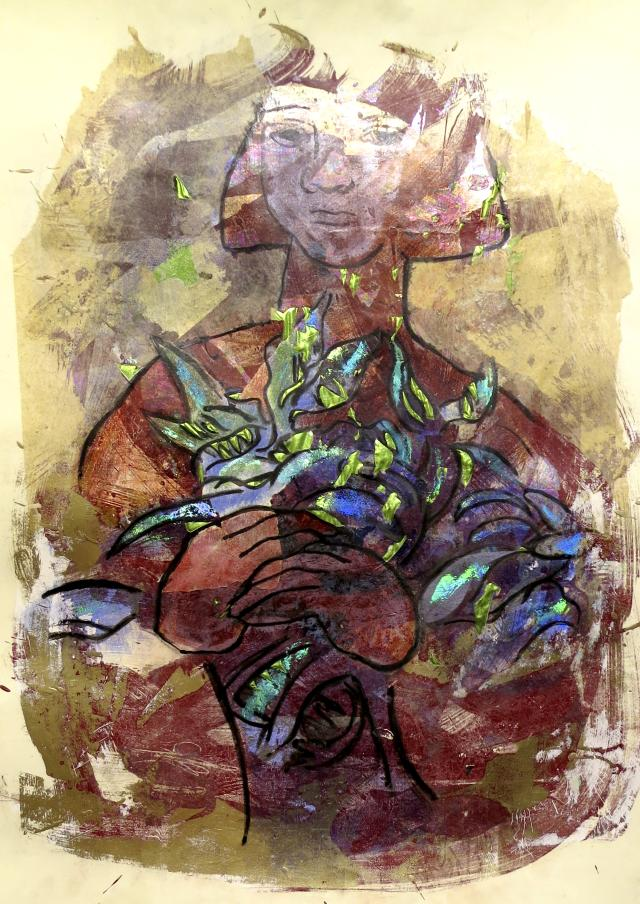 """Untitled, 2013"" a foil stamping print by Deanne Warnholtz Wortman"