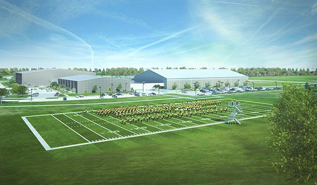 Illustration of a marching band practice field