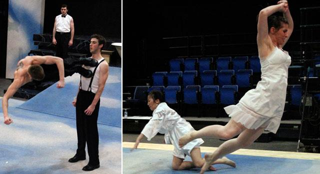 Two images from rehearsal depicting the physical athleticism of the cast
