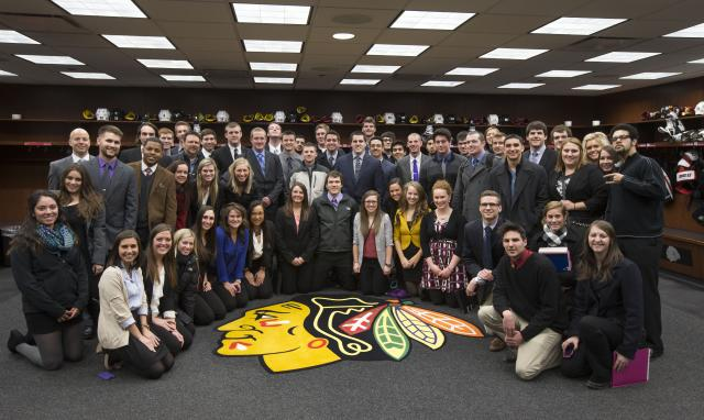 Students in the Recreation and Sport Business track in the Chicago Blackhawks locker room.
