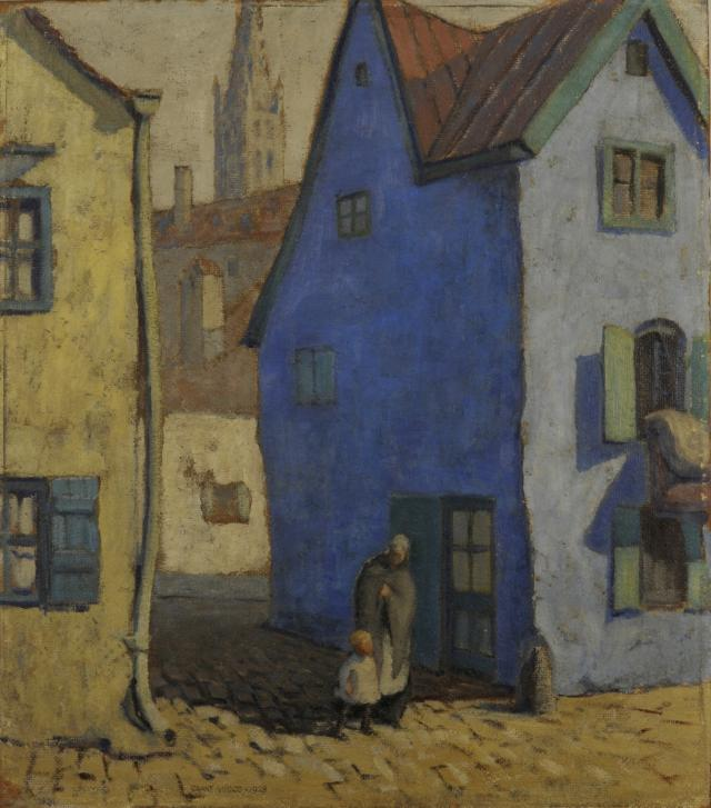 A painting of a blue house
