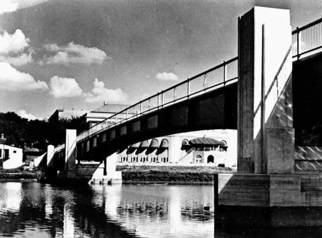 Black-and-white photo of IMU footbridge