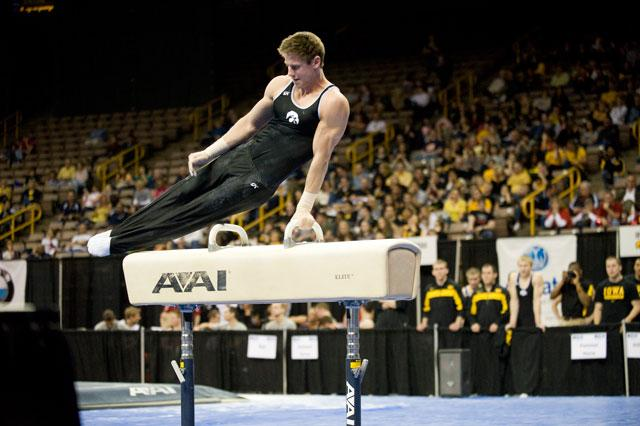 Gymnast Brody Shemansky on the pommel horse