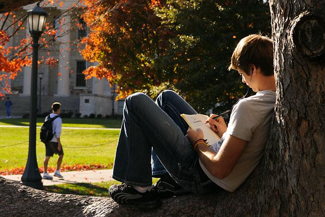 Male student studying on the Pentracrest on a fall afternoon