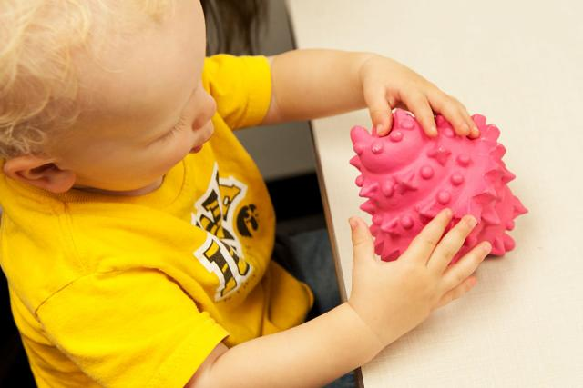 A toddler handles an object during a UI study on word learning