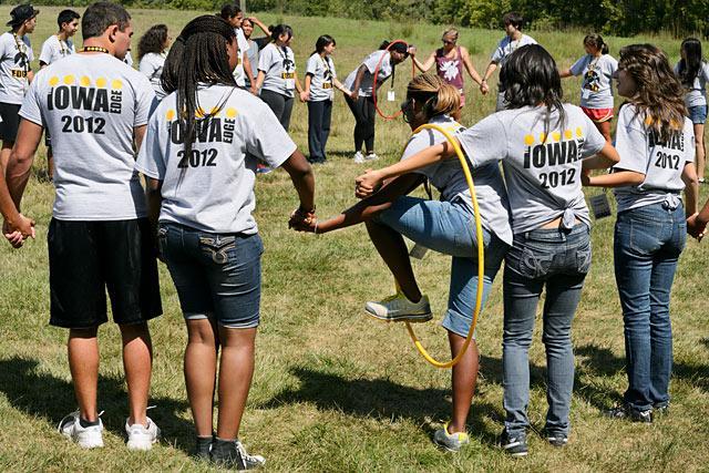 students participate in outdoor iowa edge activities