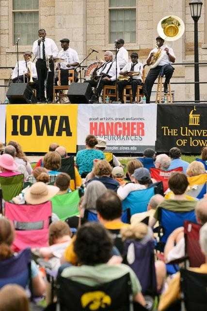The Preservation Hall Jazz Band of New Orleans performed on the University of Iowa's Pentacrest Saturday as part of Hancher's Living with Floods project.