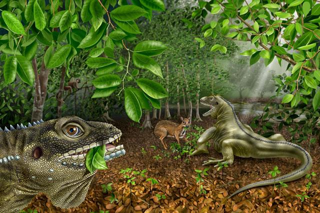 An artist's conception of the giant lizard, Barbaturex morrisoni.