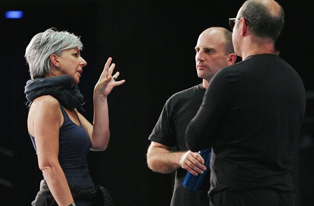 crescendo artists speaking together during rehearsals