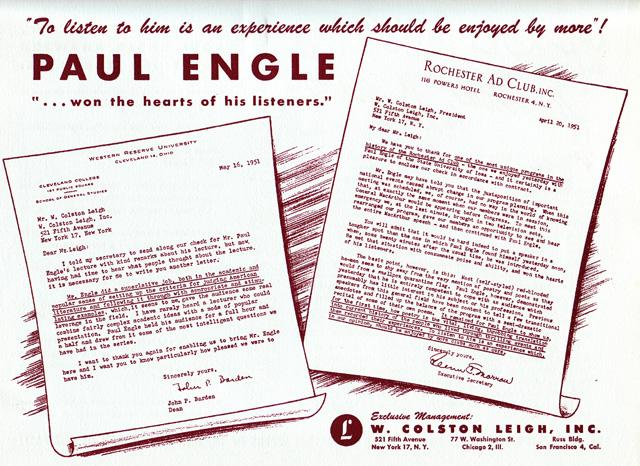 Paul Engle promotional ad
