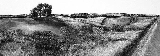 A black and white drawing of the Iowa landscape