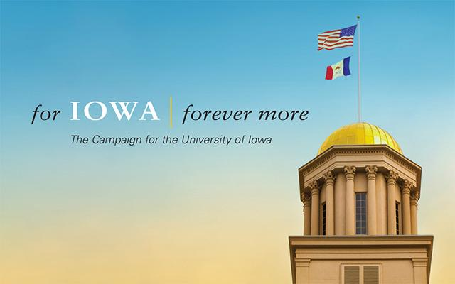 the words for iowa, forever more, on a black background