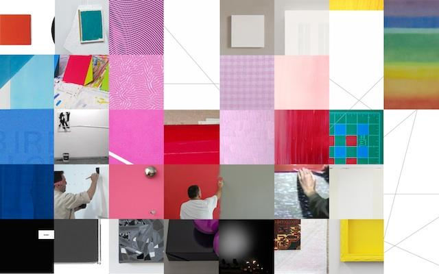 A work of art composed of squares, some bright colors, others with photos of men doing work