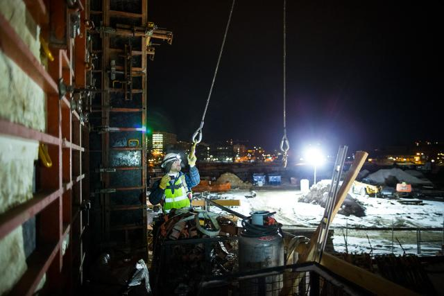 construction scene at nighttime