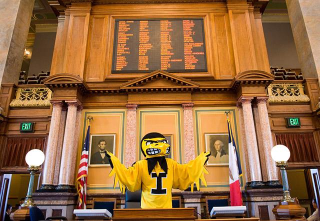 Herky at the state capitol in Des Moines