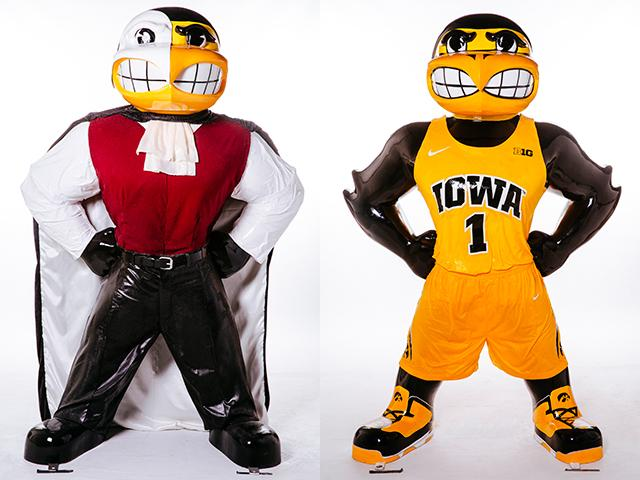 Herky of the Opera and Basketball Herky statues