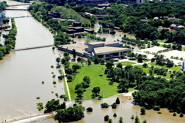 Floodwaters surround buildings on the University of Iowa arts campus
