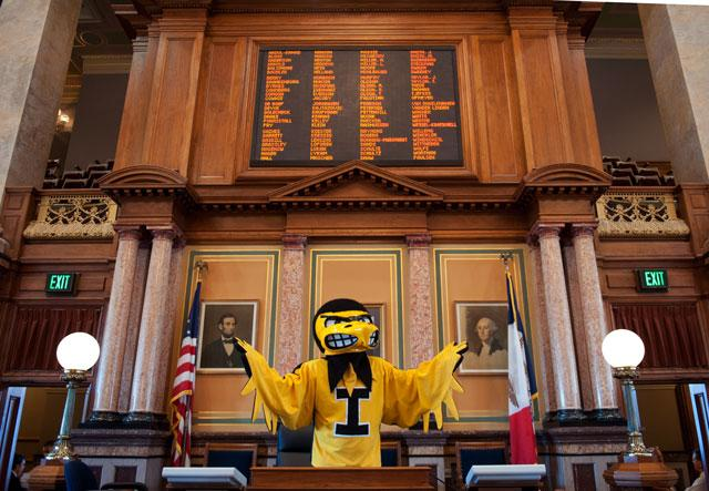 Herky at the state capital