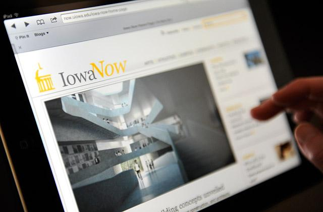Iowa Now website being viewed on an iPad.