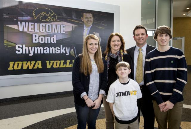 Bond Shymansky with his family at Carver-Hawkeye Arena.